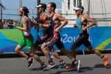 Runners competing in a triathlon